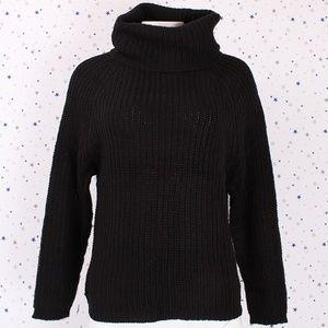 Sweaters - Raglan Long Sleeve Turtle Neck Knit Sweater Black